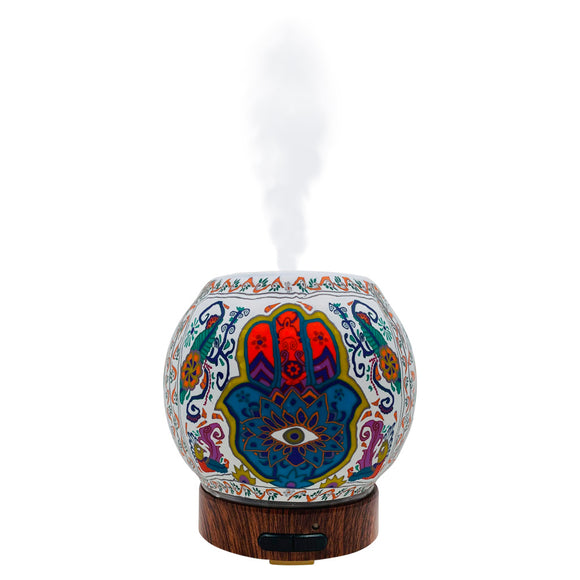 hamsa essential oil diffuser ultrasonic for aromatherapy mister evil eye decor third eye gift handmade mister cool art artisan made led color changing lamp light