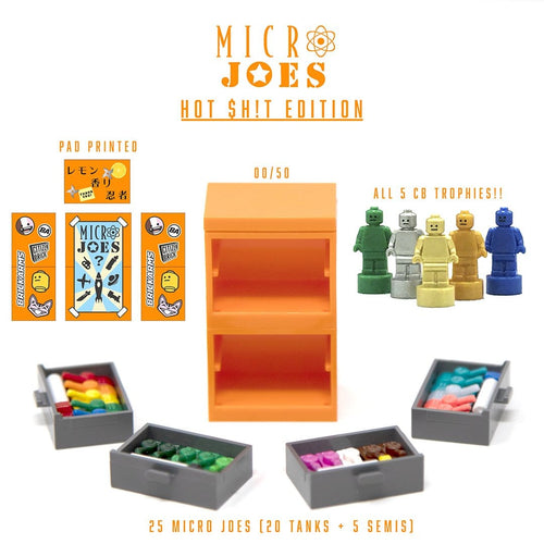 Two Custom Pad Printed orange LEGO cabinets with four drawers containing 24 Minifigure toys!