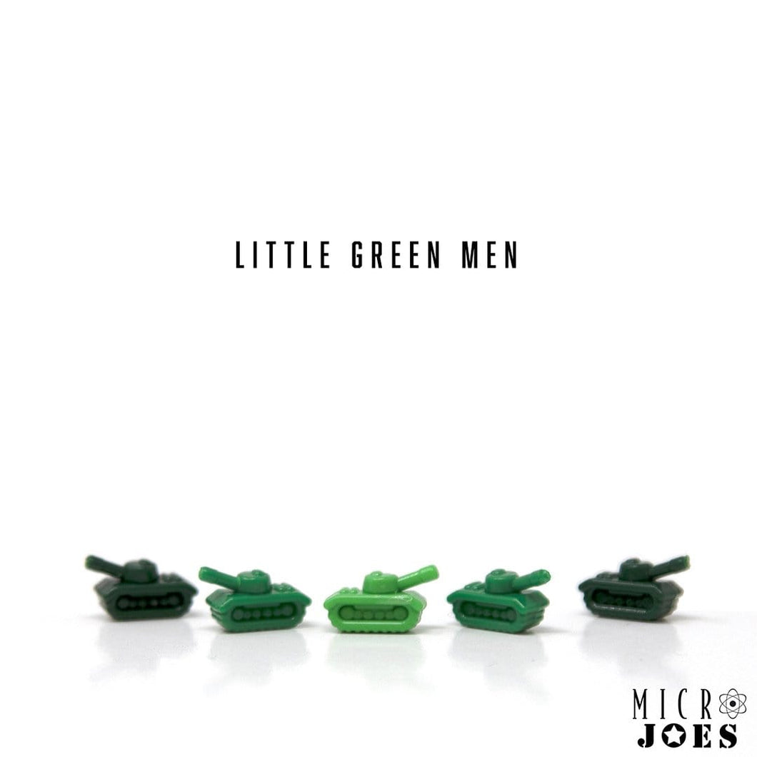 Five Custom LEGO Minifigure toy military tanks accessories in three shades of Army Man Green.