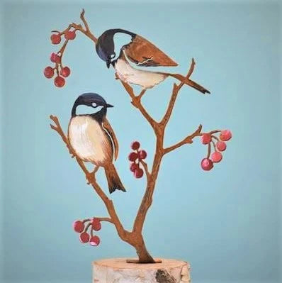 Chickadees & Berries - Hand Painted Garden Pick