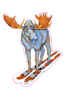 SKIING MOOSE STICKER
