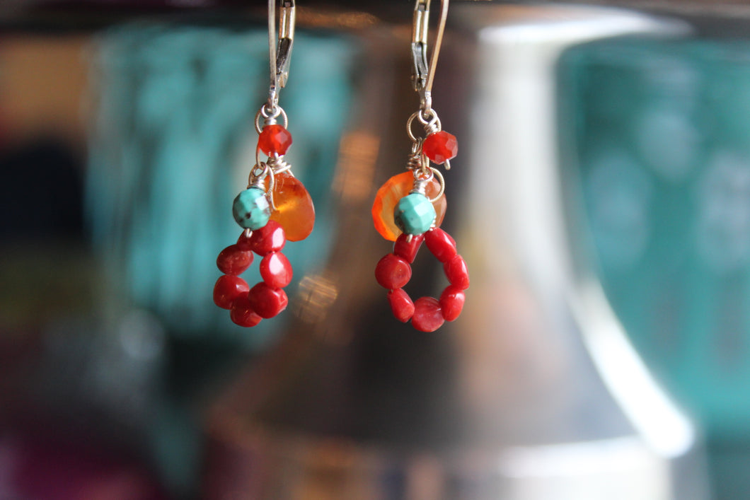 RED AND TURQOUISE EARRINGS
