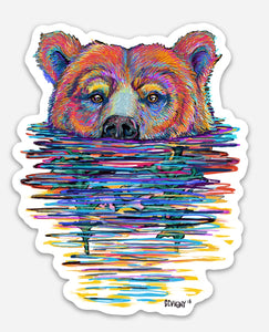 SWIMMING BEAR STICKER