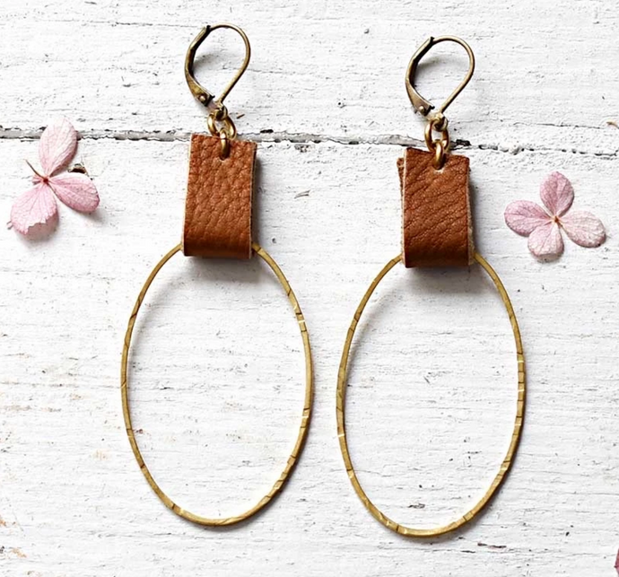 TAN LEATHER AND BRASS OVAL EARRINGS