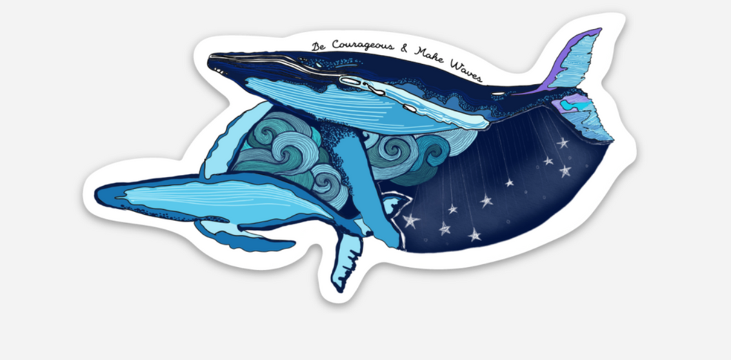 WAVED WHALES STICKER