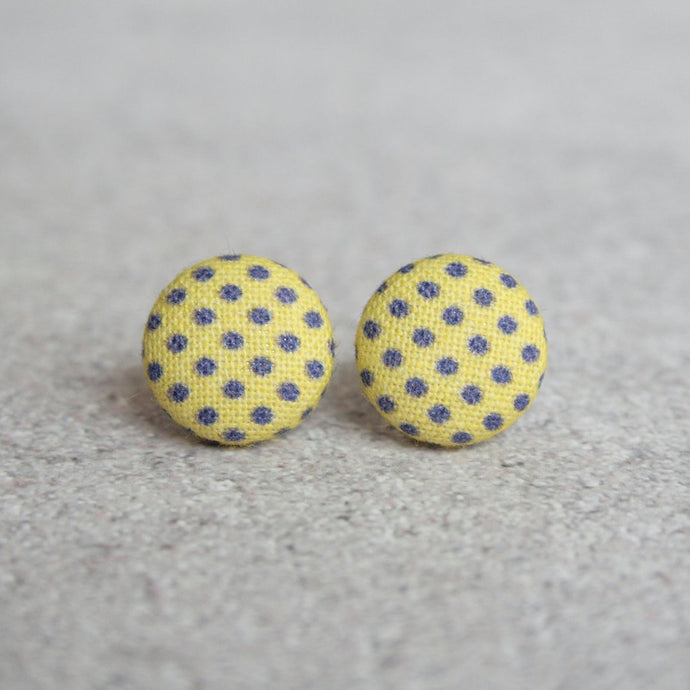 YELOW AND PURPLE POLKA DOT EARRINGS