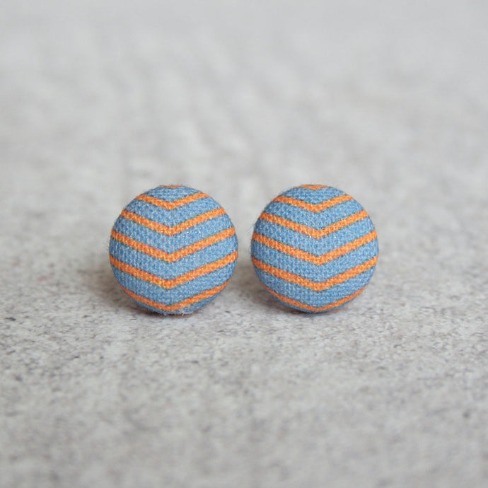 ORANGE AND BLUE STRIPY STUDS