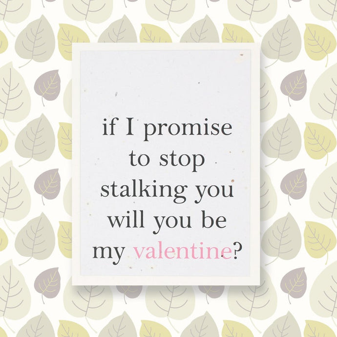 IF I PROMISE TO STOP STALKING YOU WILL BE MY VALENTINE