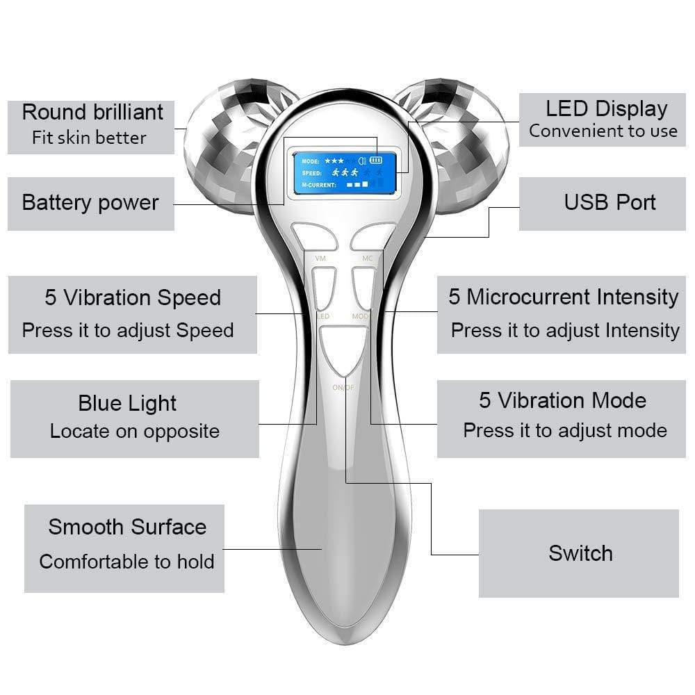 4D MicroCurrent Facial Vibration Roller Y-shaped 360 Degree rotating Face Lift Massager FIRST CLASS CREW