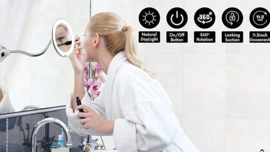 LED Lighted 10X Magnifying Makeup Mirror Portable gooseneck Vanity Mirror FIRST CLASS CREW