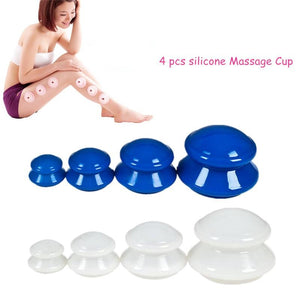 4Pcs Moisture Absorber Anti Cellulite Vacuum Cupping Silicone Facial Body Massage Cups