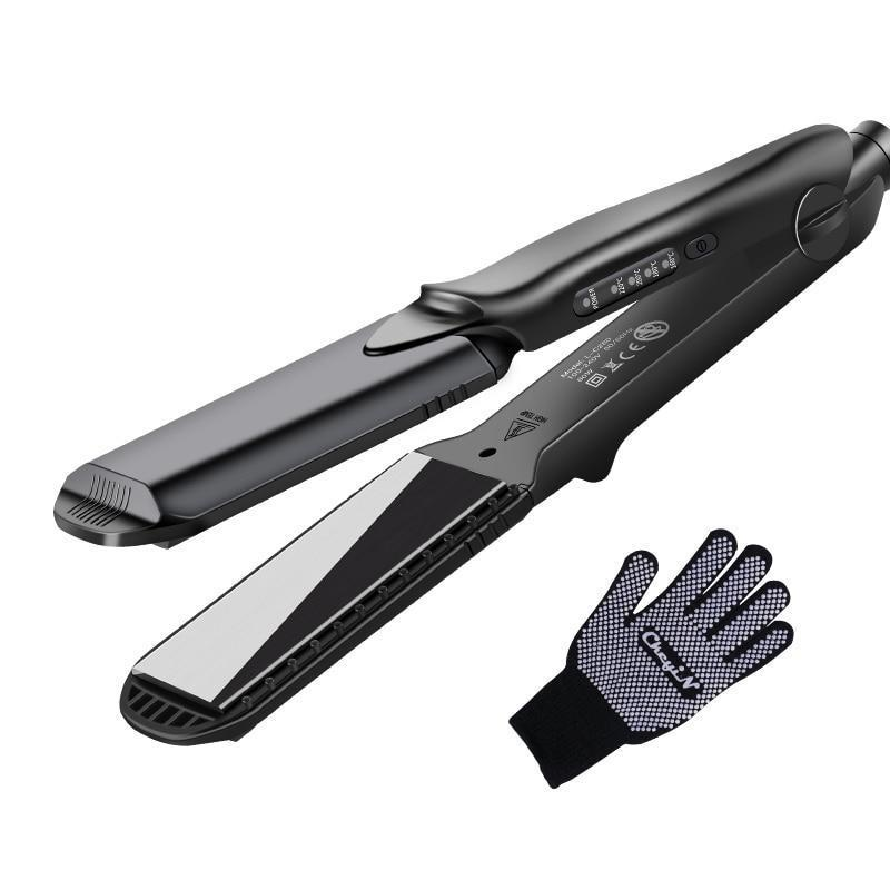 Professional Interchangeable 4 in 1 Ceramic Hair Crimper Straightener Corn Waver Corrugated Iron Plate