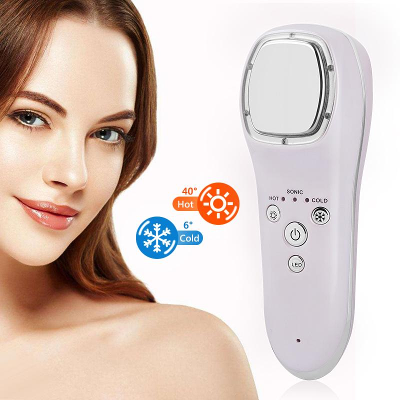 Ultrasonic Cryotherapy Hot Cold Hammer Face Lifting LED Beauty Massager