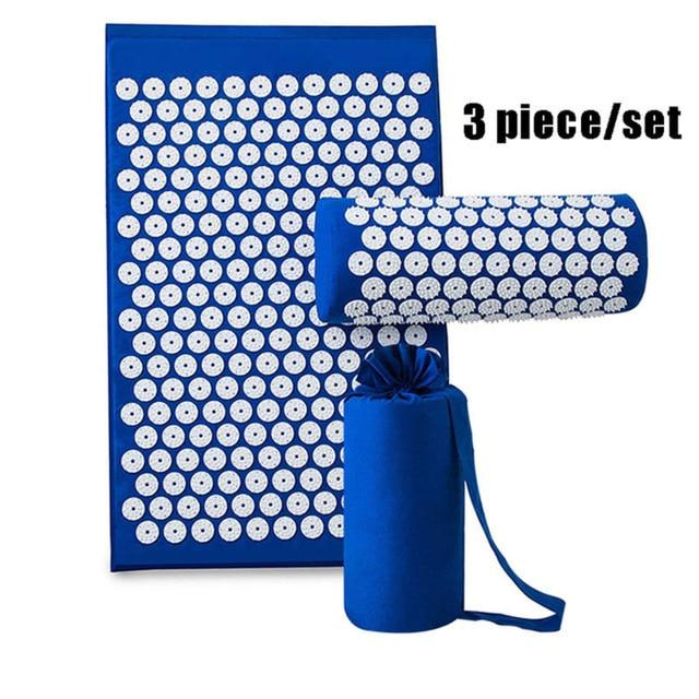 3pcs/set Acupressure Mat Pillow Set for Back/Neck Pain Relief and Muscle Relaxation