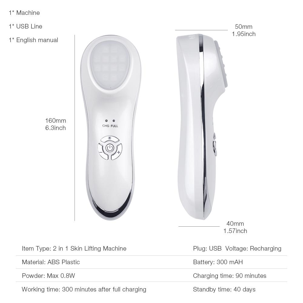 6 in 1 LED Photon Therapy Beauty Device Anti-aging Ultrasonic Vibration Facial Massager