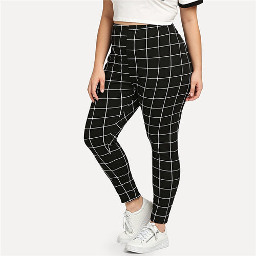 Black And White Plaid Plus Size Mid Waist Women Leggings - Funs & Good Women's fashion including dresses, T-shirts, sweatshirts, hoodies, leggings, skirts, bodysuits and more.