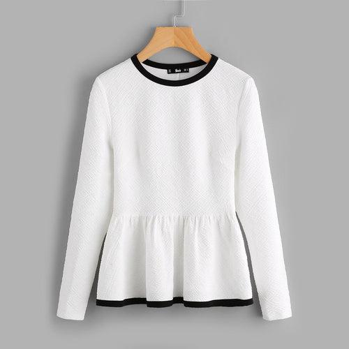 White Contrast Binding Textured Peplum Long Sleeve Blouses for Women - Funs & Good Women's fashion including dresses, T-shirts, sweatshirts, hoodies, leggings, skirts, bodysuits and more.
