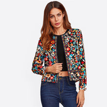 Load image into Gallery viewer, Press Button Placket Botanical Jacket for Women - Funs & Good Women's fashion including dresses, T-shirts, sweatshirts, hoodies, leggings, skirts, bodysuits and more.