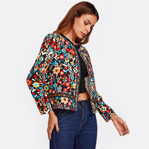 Press Button Placket Botanical Jacket for Women - Funs & Good Women's fashion including dresses, T-shirts, sweatshirts, hoodies, leggings, skirts, bodysuits and more.