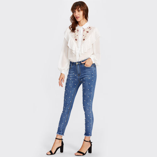 Pearl Beaded Frayed Hem Jeans for Lady - Funs & Good Women's fashion including dresses, T-shirts, sweatshirts, hoodies, leggings, skirts, bodysuits and more.