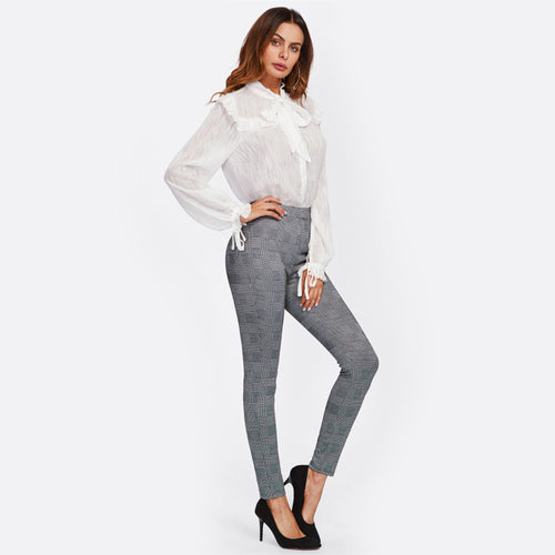 High Waisted Grey Plaid Stretchy Skinny Pants for Lady - Funs & Good Women's fashion including dresses, T-shirts, sweatshirts, hoodies, leggings, skirts, bodysuits and more.