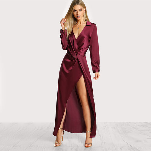 Burgundy Satin Front Twist Wrap Dress for Women (Lapel Deep V Neck Long Sleeve Split Maxi Shirt Sexy Party Dress) - Funs & Good Women's fashion including dresses, T-shirts, sweatshirts, hoodies, leggings, skirts, bodysuits and more.