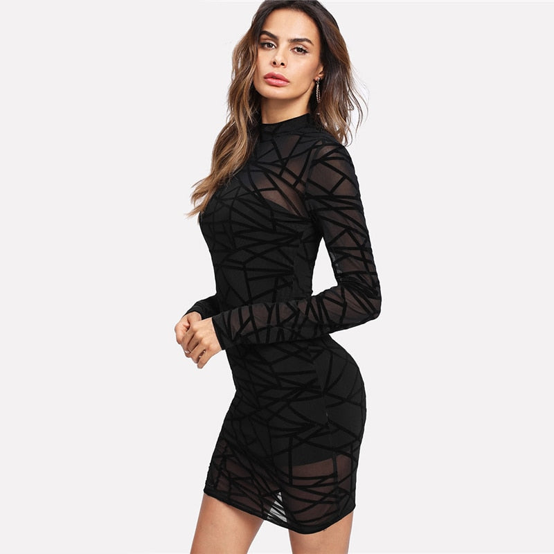 Black Long Sleeve Stand Collar Transparent Sheer Mesh Overlay 2 In 1 Dress for Women (Party Sexy Dresses) - Funs & Good Women's fashion including dresses, T-shirts, sweatshirts, hoodies, leggings, skirts, bodysuits and more.