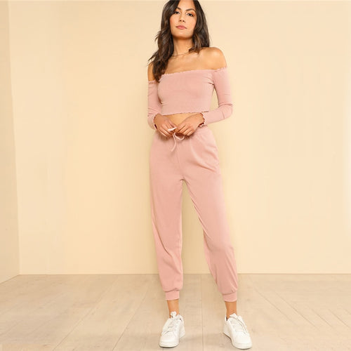 2 Piece Pink Off the Shoulder Crop Bardot Top and Drawstring Pants for Lady - Funs & Good Women's fashion including dresses, T-shirts, sweatshirts, hoodies, leggings, skirts, bodysuits and more.
