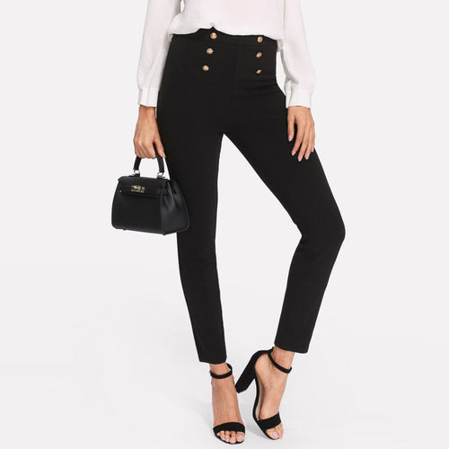 Black Double Button Mid Waist Casual Skinny Sailor Pants for Women - Funs & Good Women's fashion including dresses, T-shirts, sweatshirts, hoodies, leggings, skirts, bodysuits and more.