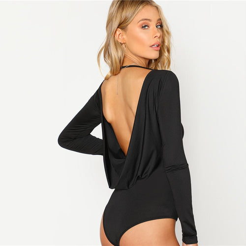 Black Round Neck Open Back Long Sleeve Draped Plain Bodysuit - Funs & Good Women's fashion including dresses, T-shirts, sweatshirts, hoodies, leggings, skirts, bodysuits and more.