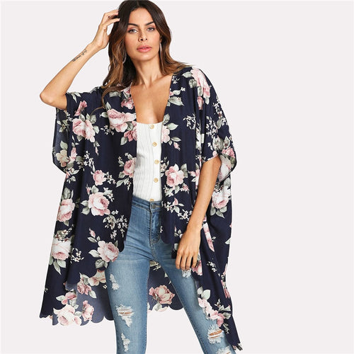 Flower Print Scallop Trim Kimono for Women (Half Sleeve Scallop Asymmetrical) - Funs & Good Women's fashion including dresses, T-shirts, sweatshirts, hoodies, leggings, skirts, bodysuits and more.