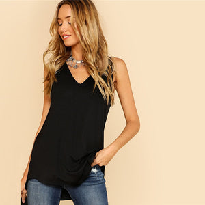 V Neck Dolphin Hem Black Asymmetrical V Neck Top for Women - Funs & Good Women's fashion including dresses, T-shirts, sweatshirts, hoodies, leggings, skirts, bodysuits and more.