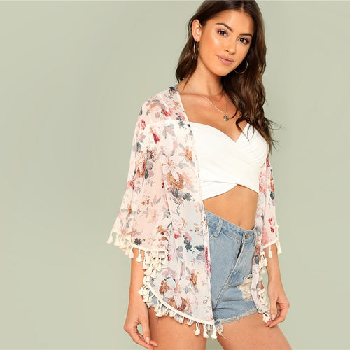 Flower Print Tassel Hem Kimono for Women (Three Quarter Length Sleeve Floral Print) - Funs & Good Women's fashion including dresses, T-shirts, sweatshirts, hoodies, leggings, skirts, bodysuits and more.
