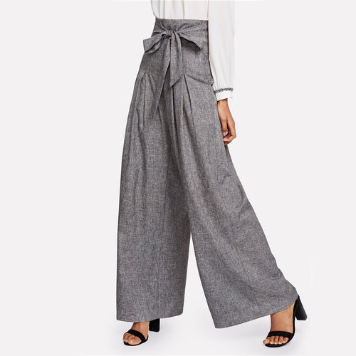 Grey High Waist Self Belted Box Pleated Palazzo Wide Leg Zipper Fly Loose Trousers for Women - Funs & Good Women's fashion including dresses, T-shirts, sweatshirts, hoodies, leggings, skirts, bodysuits and more.