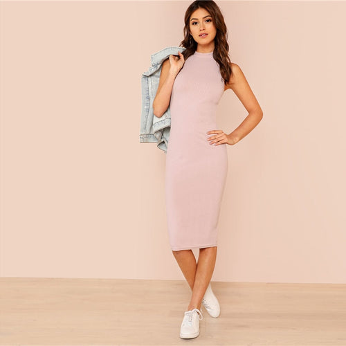 Pink Mock Neck Rib Knit Plain Pencil Dress for Women (Stand Collar Sleeveless Slim Dress) - Funs & Good Women's fashion including dresses, T-shirts, sweatshirts, hoodies, leggings, skirts, bodysuits and more.