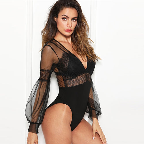 Black & Plunge Neck Lace Insert Sheer Mesh Puff Sleeve Mid Waist Bodysuit - Funs & Good Women's fashion including dresses, T-shirts, sweatshirts, hoodies, leggings, skirts, bodysuits and more.
