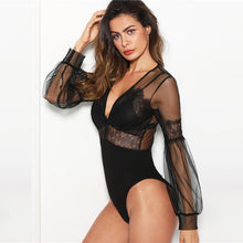 Load image into Gallery viewer, Black & Plunge Neck Lace Insert Sheer Mesh Puff Sleeve Mid Waist Bodysuit - Funs & Good Women's fashion including dresses, T-shirts, sweatshirts, hoodies, leggings, skirts, bodysuits and more.