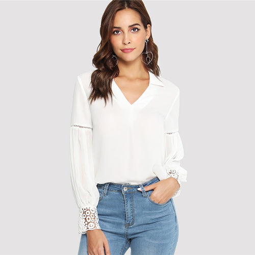 White V Neck Long Sleeve Laser Cut Insert Guipure Lace Cuff Blouse for Women - Funs & Good Women's fashion including dresses, T-shirts, sweatshirts, hoodies, leggings, skirts, bodysuits and more.