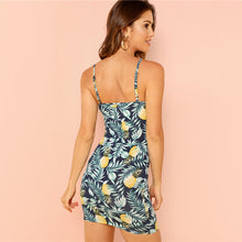 Load image into Gallery viewer, All over Pineapple Tropical Printed Cami Mini Dress for Women Summer Vacation (Sleeveless, Sheath) - Funs & Good Women's fashion including dresses, T-shirts, sweatshirts, hoodies, leggings, skirts, bodysuits and more.