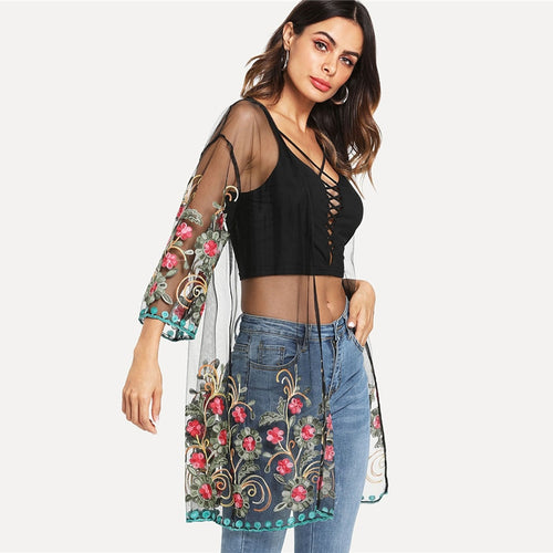 Flower Embroidered Mesh Kimono Black Boho Longline Sexy Kimono for Women - Funs & Good Women's fashion including dresses, T-shirts, sweatshirts, hoodies, leggings, skirts, bodysuits and more.
