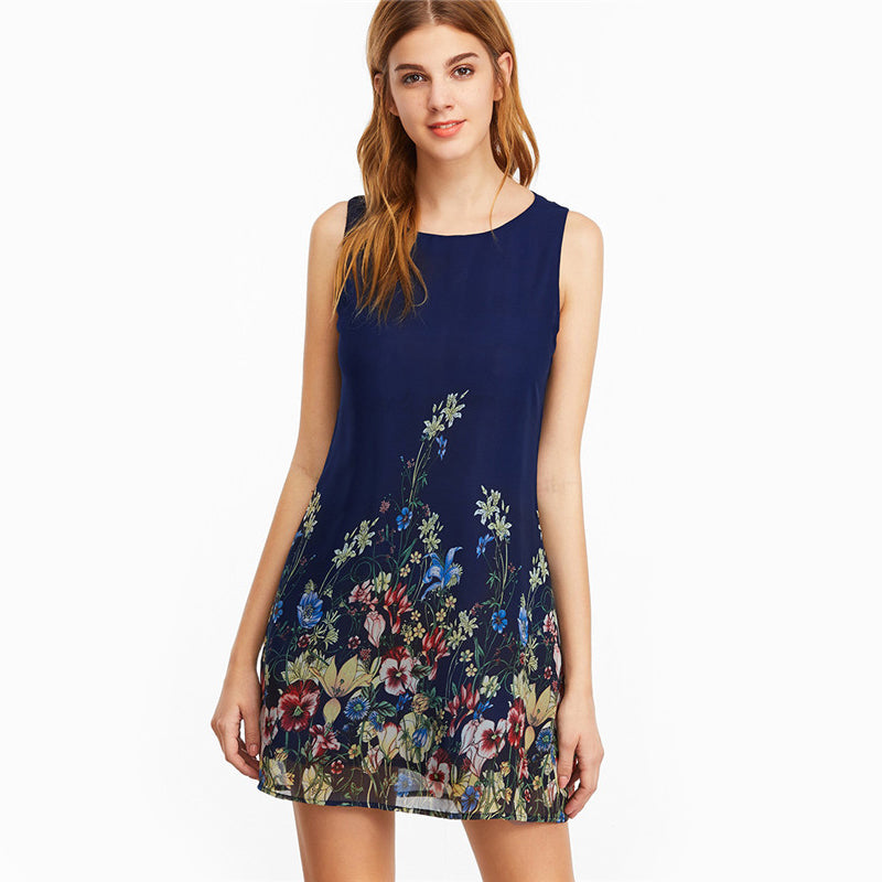 Navy Buttoned Keyhole Back Flower Print Scoop Neck Sleeveless A Line Dress for Women - Funs & Good Women's fashion including dresses, T-shirts, sweatshirts, hoodies, leggings, skirts, bodysuits and more.