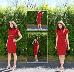 Burgundy Red High Waist Vintage Ruffle Sleeve Dress for Ladies (Lace Eyelet Hem Slit Dresses) - Funs & Good Women's fashion including dresses, T-shirts, sweatshirts, hoodies, leggings, skirts, bodysuits and more.