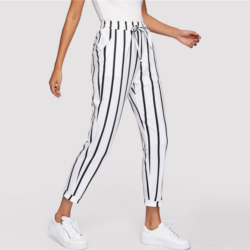 Black and White Casual Drawstring Waist Striped High Waist Tapered Carrot Pants for Women - Funs & Good Women's fashion including dresses, T-shirts, sweatshirts, hoodies, leggings, skirts, bodysuits and more.
