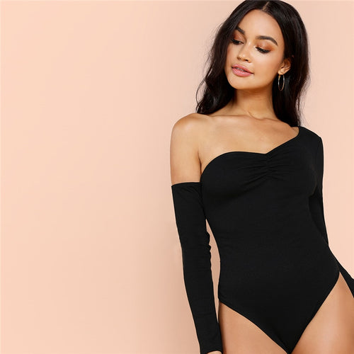 Black One Shoulder Solid Asymmetrical Neck Mid Waist Skinny Solid Bodysuit - Funs & Good Women's fashion including dresses, T-shirts, sweatshirts, hoodies, leggings, skirts, bodysuits and more.