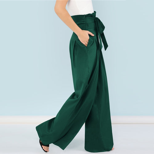 Green & Self Belted Box Pleated Palazzo High Waist Minimalist Wide Leg Pants for Women - Funs & Good Women's fashion including dresses, T-shirts, sweatshirts, hoodies, leggings, skirts, bodysuits and more.