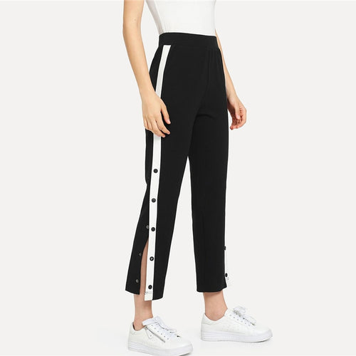 Black Color block Contrast Snap Button Side High Waist Crop Trousers for Women - Funs & Good Women's fashion including dresses, T-shirts, sweatshirts, hoodies, leggings, skirts, bodysuits and more.