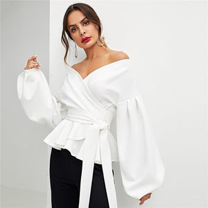White & Lantern Sleeve Surplice Peplum Off the Shoulder Solid Blouse for Women - Funs & Good Women's fashion including dresses, T-shirts, sweatshirts, hoodies, leggings, skirts, bodysuits and more.