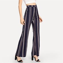 Load image into Gallery viewer, Navy & Striped Elastic Waist Flare Leg for Lady - Funs & Good Women's fashion including dresses, T-shirts, sweatshirts, hoodies, leggings, skirts, bodysuits and more.