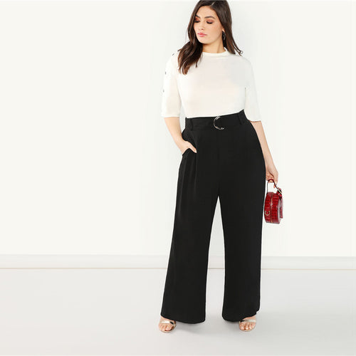 Black Plus Size Adjustable Belted Wide Leg Pants With Sashes for Women - Funs & Good Women's fashion including dresses, T-shirts, sweatshirts, hoodies, leggings, skirts, bodysuits and more.