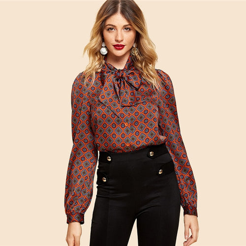 Rust Button Front Tie Neck Tribal Shirt Vintage Elegant Long Sleeve Blouses for Women - Funs & Good Women's fashion including dresses, T-shirts, sweatshirts, hoodies, leggings, skirts, bodysuits and more.